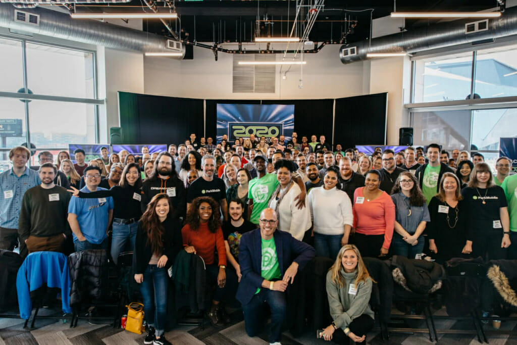 ParkMobile team celebrates the start of 2020 with a company-wide kickoff event
