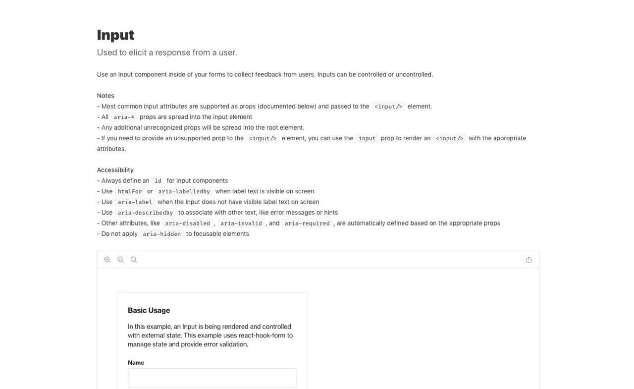 Input Component Accessibility Documentation
