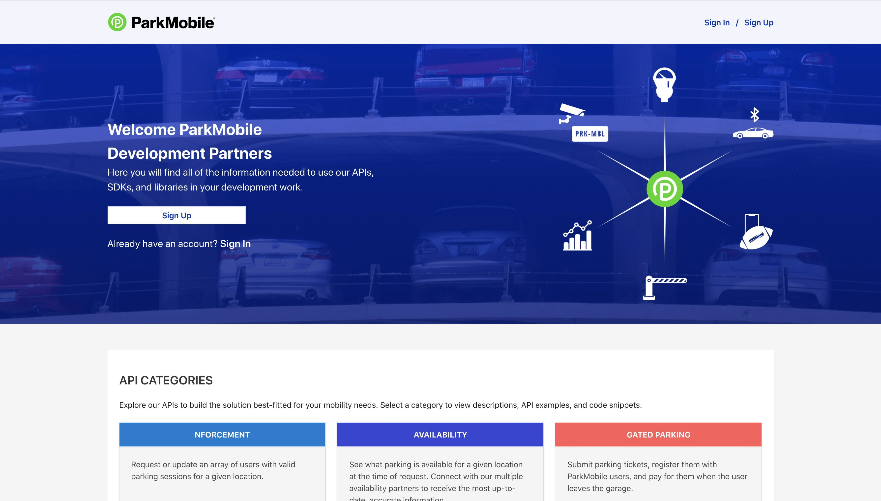 ParkMobile Developer Portal with Core UI applied to homepage